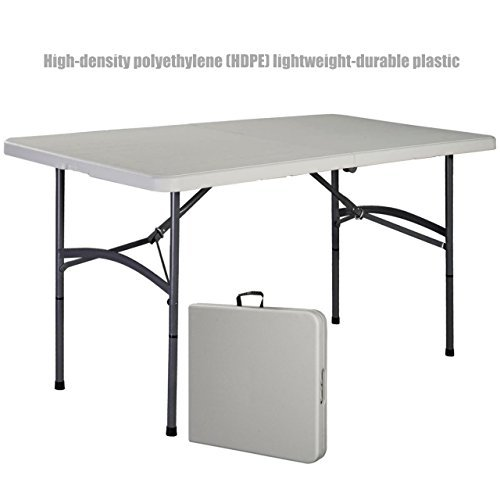 Heavy Duty Construction Light-weight Portable 4' Plastic Folding Table Indoor-Outdoor Laptop Desk Picnic Camp Party Dining Table #1177 (Outdoor Furniture Clipart)