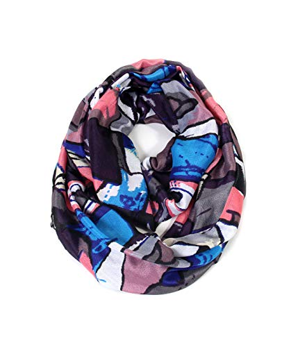 Scarfand's Mixed Color Oil Painting Infinity Scarf (Abstract Gray Pink) (Scarves Infinity Stars)