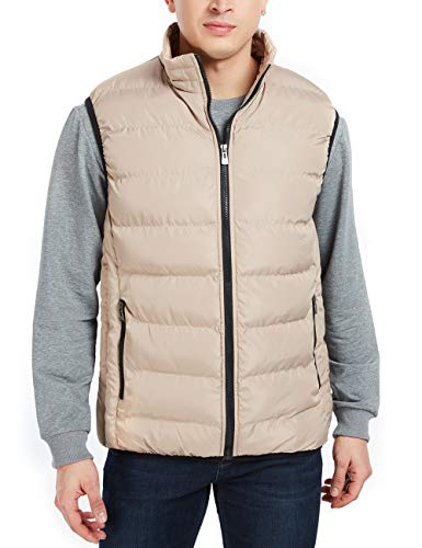 APRAW Men's Down Vest Winter Casual Work Sports Travel Outdoor Padded Puffer Pockets (Khaki, S)