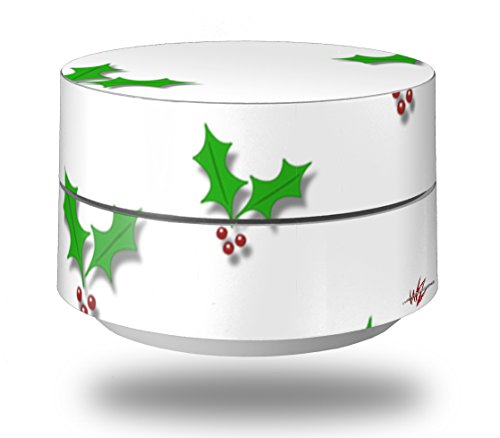 Skin Decal Wrap for Google WiFi Original Christmas Holly Leaves on White (GOOGLE WIFI NOT INCLUDED) by - Holly Decor Wrap Holiday
