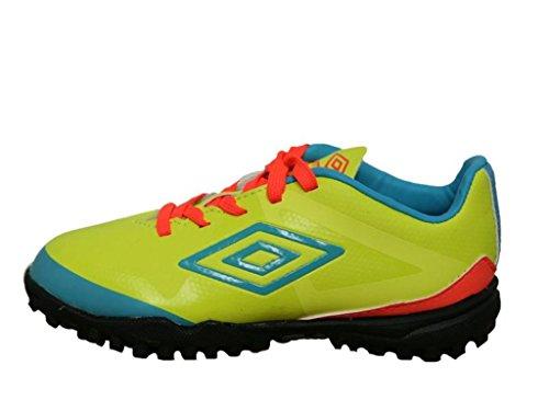 Umbro 80925U-Dkc - Botas para niño, color amarillo fluor / azul fluor / coral fluor, talla 32