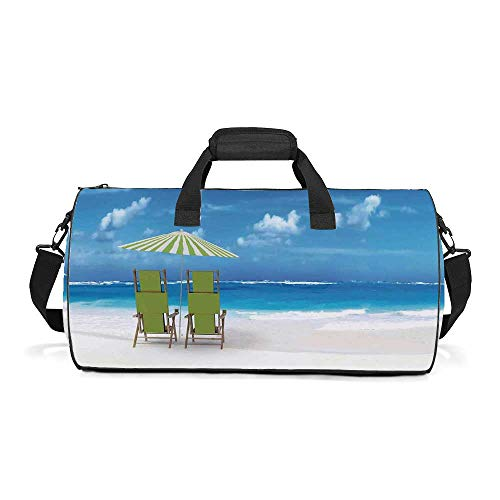 (Seaside Fashion Women's Round Travel Duffle Bag,Sunshade Drinks Pair of Reclining Chairs Facing to Ocean Seascape For traveling,19.6