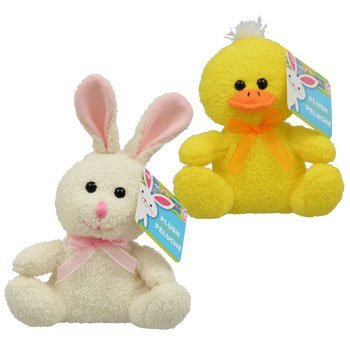Soft Terry Cloth Spring Animals: Bunny and Duck (2pk) 2 Pack Duck