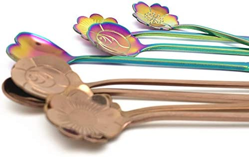 Koolemon 8Pcs//Lot Stainless Steel Tableware Rainbow Flower Coffee Spoon,Stirring Sugar Spoon,Stir Bar Spoon,Tea Spoon