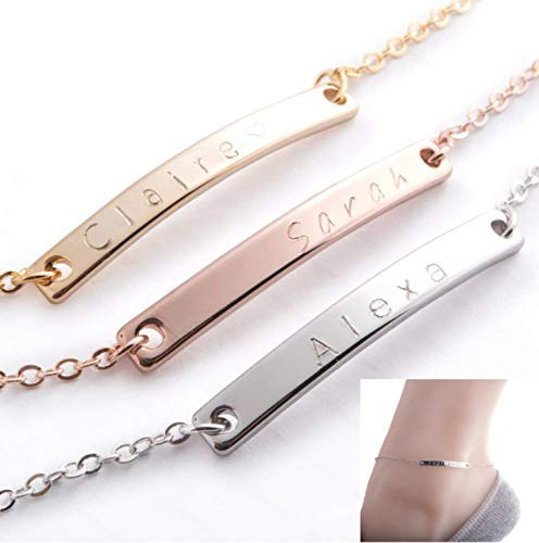 Custom Anklet 16K Gold Silver Rose Gold -Plated Bar anklet - Delicate initial name Anklet Bridesmaid Charms Bridesmaid Wedding Gift Best Graduation Day gift (Best Font For Gmail)