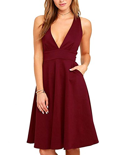 Hot LouKeith Womens Deep V Neck Sleeveless Zipper Back Evening PartyA-line Dress for sale