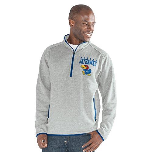 G-III Sports NCAA Kansas Jayhawks Men's 1 On 1 Quarter Zip Fashion Top, Heather Grey, Large