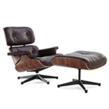 Nicer Furniture Eames Lounge Chair and Ottoman 100% Dark brown Italian Genuine Leather Best Seller Everyone Loves with Rosewood/Palisander Finish