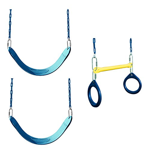 Swing-N-Slide WS 5102 2 Pack of Blue Swing Seats with Ring/Trapeze Combo Swing Swing Set Refresher Bundle, - Slide N Swing Trapeze