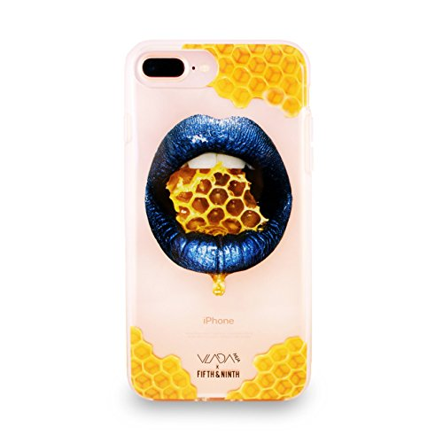 Vladamua x Fifth & Ninth for iPhone 6/6s/7/8 Plus Case - Honey Comb, Blue Lip Art, Make Up - Including Tempered Glass Screen Protector ()