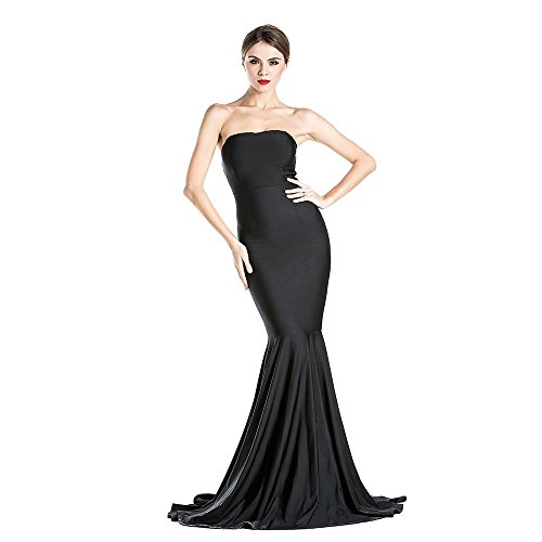 Women's Sleeveless Bra Mermaid Party Dress Small (Black Strapless Prom Dress)