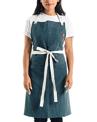 Caldo Linen Kitchen Apron - Mens and Womens Linen Bib Apron - Adjustable with Pockets (Spruce) ()