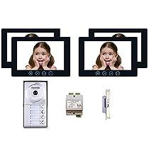 4 Tenant Apartment Unit MT Series Video Intercom System Kit 7 Inch Monitor 4 Resident