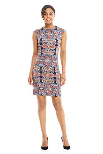 London Times Women Cap-Sleeve Abstract Print Sheath Dress (12, Navy/Multi)