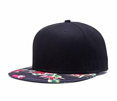 Premium Floral Flower Hawaiian Cotton Adjustable Snapback Hats Men's Women's Hip-Hop Flat Bill Baseball Caps
