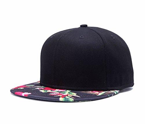 Premium Floral Flower Hawaiian Cotton Adjustable Snapback Hats Men's Women's Hip-Hop Flat Bill Baseball Caps Black ()