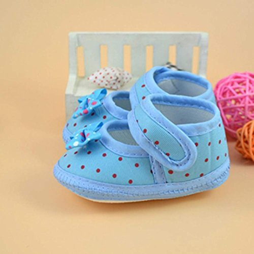 HUHU833 Neugeborene Säuglingsbaby Mädchen Soft Crib Schuhe Kleinkind Schuhe, Krippe Schuhe, Bowknot Stiefel Soft Krippe Schuhe Blau