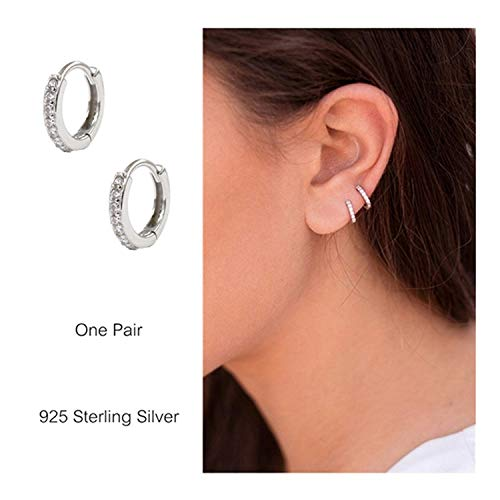Diamond Small Huggies Earrings - 925 Sterling Silver Small Hoop Earrings Cubic Zirconia Cartilage Earring Earing Piercing Earrings Ear Cuff Huggie Tiny Hoops Earrings for Women Girls Men