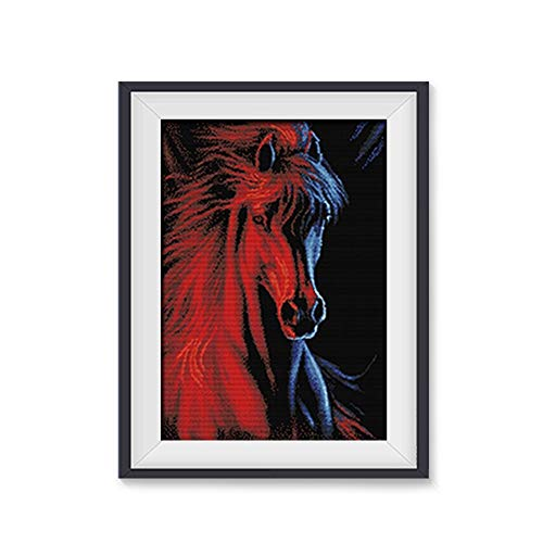Embroidery Ice and Fire Cross Stitch Wall Decoration 2019 New Embroidered Horse Living Room Full of Embroidered Horse Head Dining Room Restaurant Line Embroidery Horse Map (Size : B-5974cm)