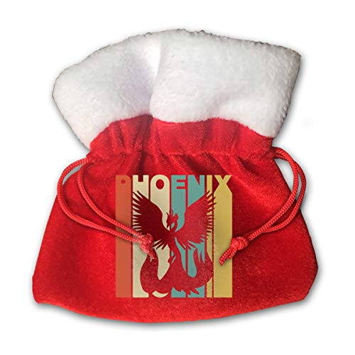 (CYINO Personalized Santa Sack,Vintage Style Phoenix Silhouette Portable Christmas Drawstring Gift Bag)