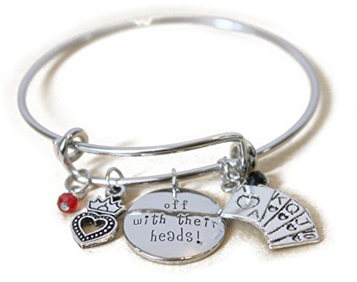 (Alice in Wonderland Message Expandable Silver Bracelet Bangle Off with Their Heads Pendant Crystal Queen of Hearts Poker Charms Silver DIY Adjustable)