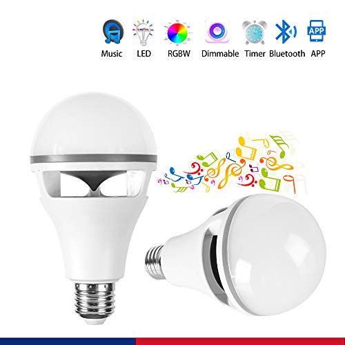 CRIOO Music Smart Bulb E26 LED RGB Light Sync Music Playing Sync Light Dimming LED Lamp Lighting Bluetooth Speaker APP Control Android iOS Smartphone for Bar, Holiday Lights(Pack of 2)