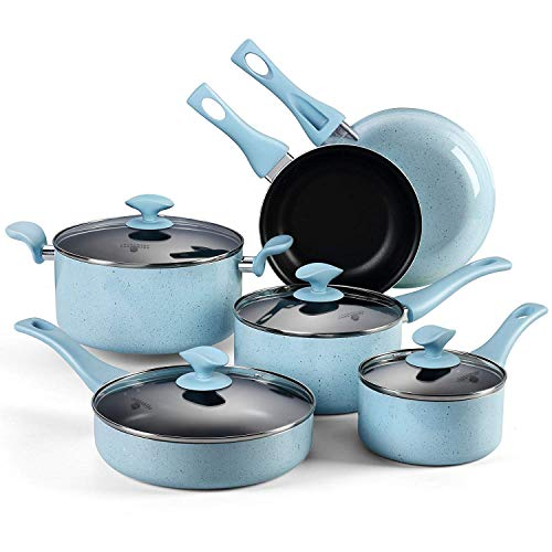 AMERICOOK, 10PC Non-stick Pots and Pans Set – Blue Porcelain Enamel Kitchen Cookware Set with Glass Lids and Stay-Cool Bakelite Handles, Includes Nonstick Frying Pan, Saucepan, Saute Pan, Casserole
