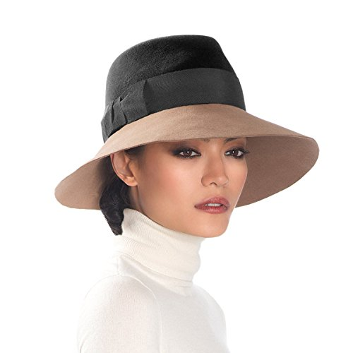 Eric Javits Luxury Fashion Designer Women's Headwear Hat - Tiffany - Black/Camel by Eric Javits