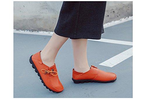 Planos de de Casuales Mocasines Femeninos Nuevo Naranja Conducción Cordones Mocasines de Las Con Bridfa Otoño Cuero Mujeres Vaca Mujer de Estilo Zapato Zapatos Zapatos StqnzOw