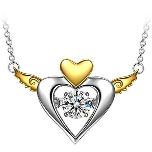 DANCING HEART Soul Freedom 925 Sterling Silver Necklace for Women, Fine Jewelry Hypoallergenic, Wonderful Birthday Gift for Her – The Diamond Keeps Moving as if it is Dancing
