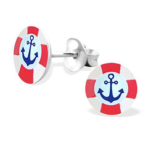 Cute Anchor Earrings Round Studs Posts Logo Girls Sterling Silver 925 (E19757) - Nordstrom Sterling Silver Ring
