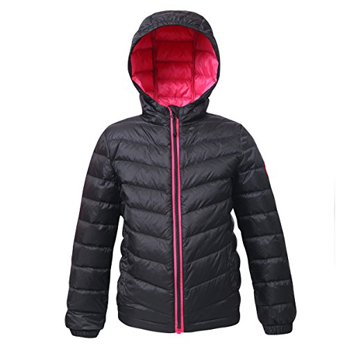 Rokka&Rolla Girls' Ultra Lightweight Hooded Packable Puffer Down Jacket Rich Black