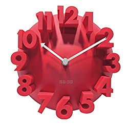 3d Big Digital Modern Contemporary Home Office Decor Round Quartz Wall Clock (Red)