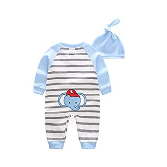 ALLAIBB Long Sleeve Romper Stripe Print Jumpsuit with Hat Suit for Baby Boy Girls