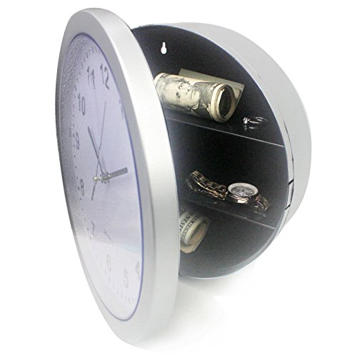 Wall Clock Hidden Safe - SINOCMP Clock Safe Secret Safes Hidden Safe Wall Clock for Secret Stash Money Cash Jewelry, 10 Inch Plastic Silver Wall Clock Compartment Stash Box