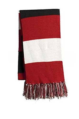 Sport-Tek Spectator Scarf Red White Black