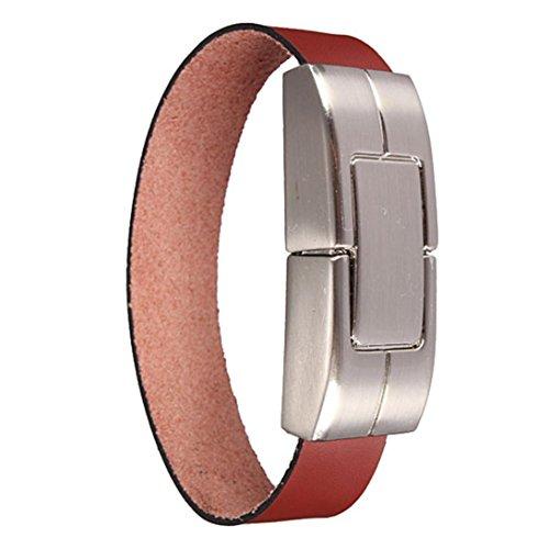 (Voberry Leather Bracelet USB 2.0 Metal Flash Memory Stick Storage Thumb U Disk (1GB, Brown))