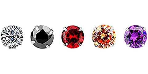 White Gold-Plated 925 Sterling Silver Round-Cut Cubic Zirconia Stud Earrings 3MM-8MM Set (Black+Champagne gold+Purple+Red+White (8 MM,5 Pairs/Same Size,Different color))