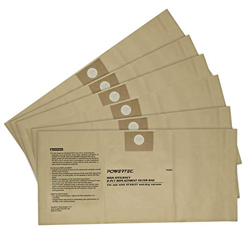 POWERTEC 75003P2 4-5 Gallon Disposable Filter Bags for Wet/Dry Vacuums | High Efficiency Replacement Filters for Stanley (25-1230) - 6 Pack