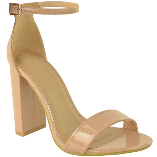 Fashion Thirsty Womens Ladies Block High Heels Ankle Strap Sexy Open Toe Sandals Shoes Size New Nude Patent e4rNyW2hyO