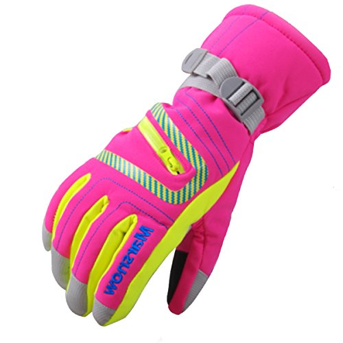- Phibee Unisex Waterproof Windproof Winter Warm Snowboard Ski Gloves for Men and Women Pink S