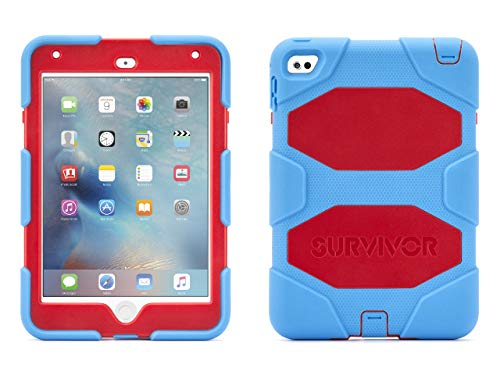 Griffin, iPad Mini 4 Case with Stand, Blue and Red Survivor All-Terrain, [Rugged] [Protective] [Dual Layer] [Heavy Duty] [Shock Absorption] [Polycarbonate] [Silicone]