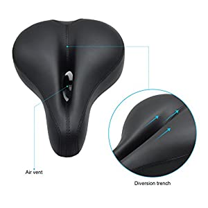 Bicycle Saddle/Bike Saddle/Bike Seat,ViMall Professional Anatomic Relief Bicycle Suspension Saddle Mountain-Wide Comfort Soft Foam Cycling Seat Road MTB Gel Comfort Bicycle Seat Cushion Pad (Black)