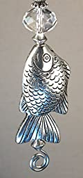 Large Silver Fish with Crystal Clear Glass Ceiling Fan Pull Chain