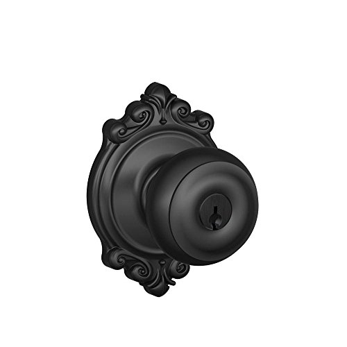 Schlage F51A GEO 622 BRK Georgian Knob with Brookshire Trim Keyed Entry Lock, Matte Black