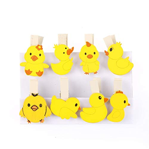 (Wooden Chip - 8/10/12 Pcs Christmas Snowman Duck Heart Owl Mini Natural Wooden Clips for Photo Clips Clothespin Craft Decoration Clips)