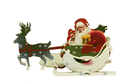Santa's sled Pop Up cards Handmade Holiday ornament for Christmas -