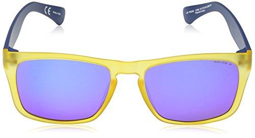Police Lunette De Soleil S1988 Trick 2 Wayfarer, Semi Matt Transparent Yellow & Dark Blue Frame/blue Mirror Lens
