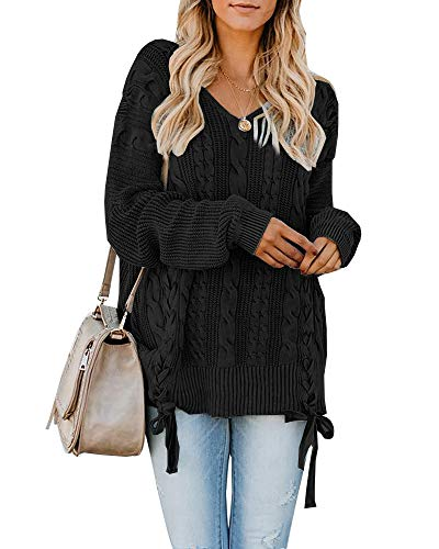 (Womens Pullover Sweaters Plus Size Cable Knit V Neck Lace Up Long Sleeve Fall Jumper Tops Black)