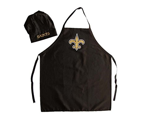 NFL New Orleans Saints Chef Hat and Apron Set, Black, One Size